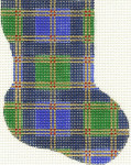277 Blue Plaid Minisock 4 x 5.5 18 Count Silver Needle Designs
