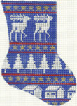 266 Blue Reindeer Minisock 4 x 5.5 18 Count Silver Needle Designs
