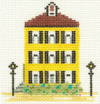 204 Yellow House 3.5 x 4 13 Count Silver Needle Designs