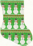 268 Snowmen Minisock (green background) 4 x 5.5 18 Count Silver Needle Designs