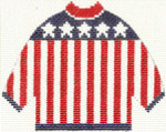294 Flag Sweater Ornament 5.5 x 4.25 13 Count Silver Needle Designs
