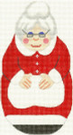 280 Mrs. Claus Ornament 3.5 x 7 18 Count Silver Needle Designs
