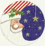295 Partriotic Santa Ornament 4.5 circle 18 Count Silver Needle Designs