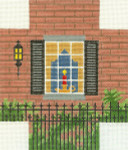 330 Brick Window Scene 5.75 x 6.75 18 Count Silver Needle Designs