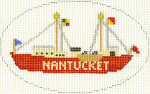 508 Nantucket Lightship Ornament 5 x3 18 Count Silver Needle Designs