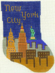 446 New York City Minisock 4 x6 18 Count Silver Needle Designs