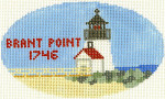 509 Brant Point Lighthouse Ornament 5 x3 18 Count Silver Needle Designs