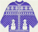 611 Blue Snowman Sweater Ornament 5.5 x 4.25 13 circle Silver Needle Designs