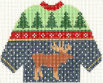 597 Moose Sweater Ornament 5.5 x 4.25 13 Count Silver Needle Designs