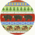 549 Bear and Cabins Ornament 4.25 circle 13 Count Silver Needle Designs