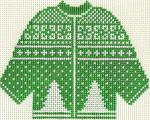 612 Green X-Mas Tree Sweater Ornament 5.5 x 4.25 13 circle Silver Needle Designs