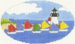 507 Rainbow Fleet Ornament 5 x3 18 Count Silver Needle Designs