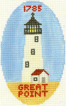 511 Great Point Lighthouse Ornament 5 x3 18 Count Silver Needle Designs