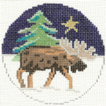 559 Moose Ornament 4.25 circle 18 Count Silver Needle Designs