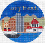 686 Long Beach Ornament 4.25 RD. 18 Mesh Silver Needle Designs