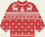 613 Red Reindeer Sweater Ornament 5.5 x 4.25 13 circle Silver Needle Designs