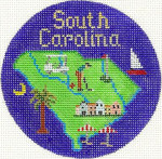 607 South Carolina Ornament 4.25 RD. 18 Mesh Silver Needle Designs
