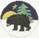 560 Bear Ornament 4.25 circle 18 Count Silver Needle Designs