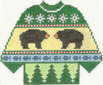 595 Bears Sweater Ornament 5.5 x 4.25 13 Count Silver Needle Designs