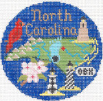 683 North Carolina Ornament 4.25 RD. 18 Mesh Silver Needle Designs