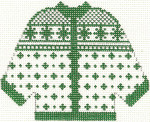 675 Green Alpine Cardigan Ornament 4.5 x 5.5 13 Count Silver Needle Designs
