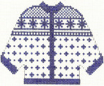 676 Blue Alpine Cardigan Ornament 4.5 x 5.5 13 Count Silver Needle Designs