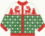 672 Green with Red Reindeer Cardigan Ornament 4.5 x 5.5 13 Count Silver Needle Designs