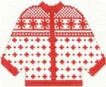 674 Red Alpiner Cardigan Ornament 4.5 x 5.5 13 Count  Silver Needle Designs