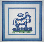 H47 Small Donkey 5 x5 18 Count Hadley Potter Silver Needle Designs