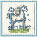 H13 Small Horse 5 x5 18 Count\ Hadley Pottery Silver Needle Designs