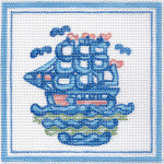 H41 Small Clipper Ship 5 x5 18 Count Hadley Potter Silver Needle Designs