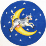 133 Cow Over The Moon 10.75 circle 18 Count\ Silver Needle Designs