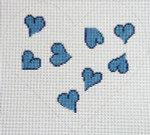 159B Heart Pillow - Blue 8.5 x 8 12 Count Silver Needle Designs
