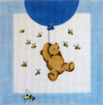 186 Winnie The Pooh and Balloons Pillow 10 x 10 13 Count Silver Needle Designs