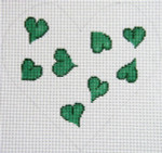 159G Heart Pillow - Green 8.5 x 8 12 Count Silver Needle Designs
