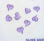 159L Heart Pillow - Lavender 8.5 x 8 12 Count Silver Needle Designs