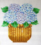 158 Nantucket Basket with Hydrangeas Pillow 10 x 11 13 Count\ Silver Needle Designs