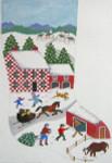 419 Folk Art Christmas Stocking 13 x 18 13 Count Silver Needle Designs