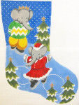 309 Babar and Celeste Christmas Stocking 12 x 18 12 Count Silver Needle Designs