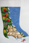 339 Napping Bunnies Christmas Stocking 12 x 18 12 Count Silver Needle Designs