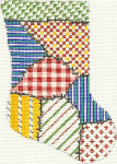 271 Patchwork Minisock 4 x 5.5 18 Count Silver Needle Designs