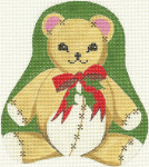 322 Christmas Teddy 5 x6 18 Count Silver Needle Designs