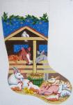 311 Barnyard Christmas Stocking 12 x 18 12 Count Silver Needle Designs