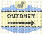 531 Quidnet Sign Ornament 2.5 x 3.5 18 Count Silver Needle Designs