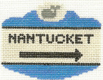 526 Nantucket Sign Ornamentm2.5 x 3.5 18 Count Silver Needle Designs
