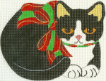323 Christmas Kitty 6 x 4.5 18 Count Silver Needle Designs