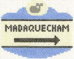 522 Madequecham Sign Ornament 2.5 x 3.5 18 Count Silver Needle Designs