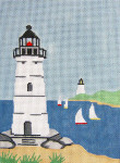 291 Harbor Lighthouses 5.25 x 7.25 18 Count Silver Needle Designs