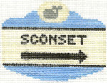 532 Sconset Sign Ornament 2.5 x 3.5 18 Count Silver Needle Designs