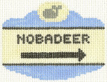 527 Nobadeer Sign Ornament 2.5 x 3.5 18 Count Silver Needle Designs
